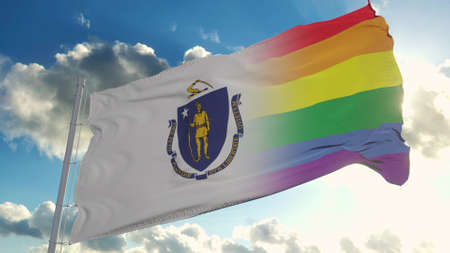 Flag of Massachusetts and LGBT. Massachusetts and LGBT Mixed Flag waving in wind. 3d rendering Banco de Imagens