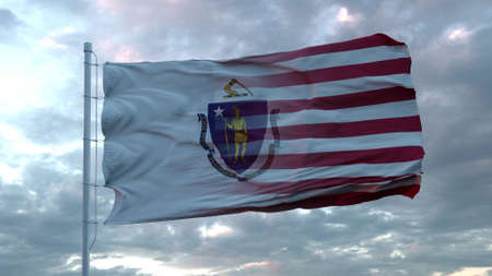 USA and Massachusetts Mixed Flag waving in wind. Massachusetts and USA flag on flagpole. 3d rendering