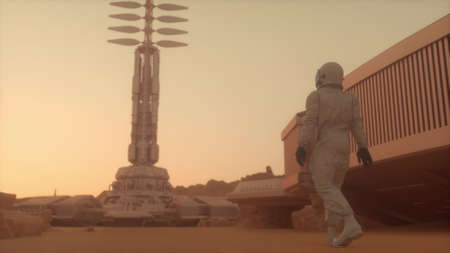 Astronaut walking on the surface of Mars. Exploring mission to Mars. Futuristic colonization and Space exploration concept. 3d rendering Banco de Imagens
