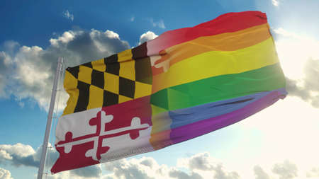 Flag of Maryland and LGBT. Maryland and LGBT Mixed Flag waving in wind. 3d rendering