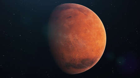 Mars planet spinning in open space over stars background. Front view of Mars planet from space with beautiful galaxy. 3d rendering