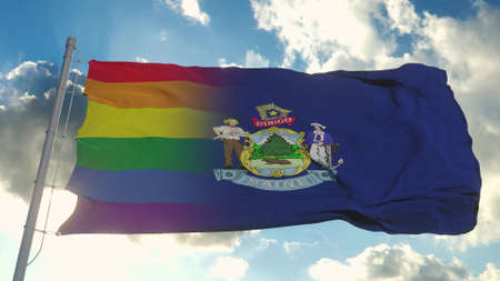 Flag of Maine and LGBT. Maine and LGBT Mixed Flag waving in wind. 3d rendering