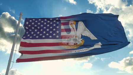 Flag of USA and Louisiana state. USA and Louisiana Mixed Flag waving in wind. 3d rendering