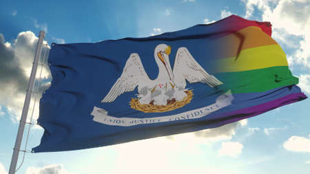 Flag of Louisiana and LGBT. Louisiana and LGBT Mixed Flag waving in wind. 3d rendering Banco de Imagens