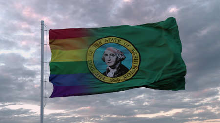 Waving flag of Washington state and LGBT rainbow flag background. 3d rendering