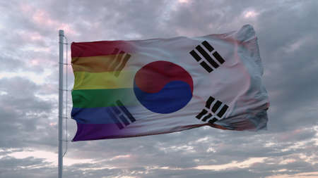 Waving flag of South Korea state and LGBT rainbow flag background. 3d rendering Banco de Imagens