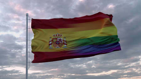 Waving flag of Spain and LGBT rainbow flag background. 3d rendering