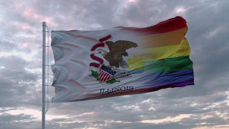Waving flag of Illinois state and LGBT rainbow flag background. 3d rendering