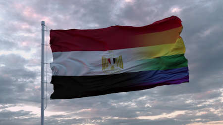 Waving flag of Egypt state and LGBT rainbow flag background. 3d rendering
