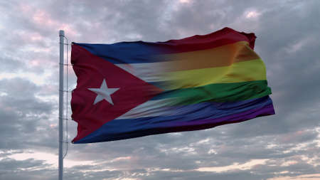 Waving flag of Cuba state and LGBT rainbow flag background. 3d rendering Banco de Imagens
