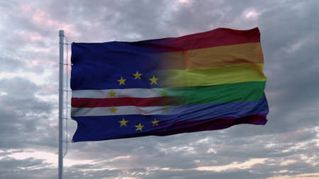 Waving flag of Cape Verde state and LGBT rainbow flag background. 3d rendering