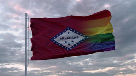 Waving flag of Arkansas state and LGBT rainbow flag background. 3d rendering