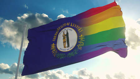 Flag of Kentucky and LGBT. Kentucky and LGBT Mixed Flag waving in wind. 3d rendering