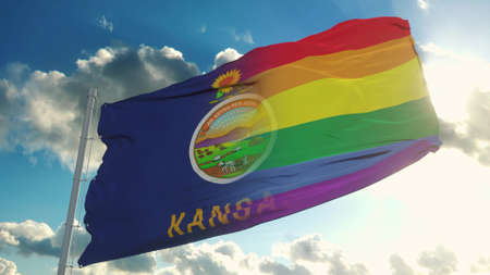 Flag of Kansas and LGBT. Kansas and LGBT Mixed Flag waving in wind. 3d rendering