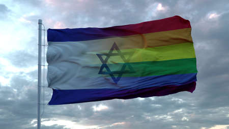 Waving national flag of Israel and LGBT rainbow flag background. 3d rendering