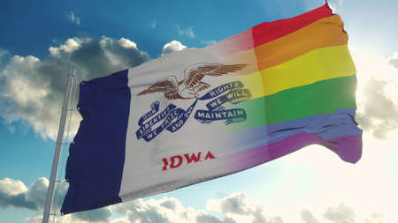 Flag of Iowa and LGBT. Iowa and LGBT Mixed Flag waving in wind. 3d rendering