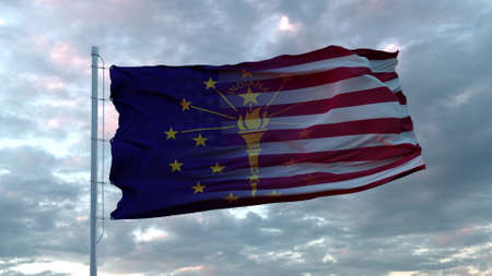 USA and Indiana Mixed Flag waving in wind. Indiana and USA flag on flagpole. 3d rendering