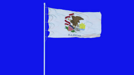 Illinois state flag waving on wind on blue screen or chroma key background. 3d rendering