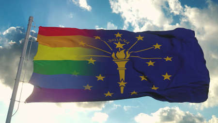 Flag of Indiana and LGBT. Indiana and LGBT Mixed Flag waving in wind. 3d rendering