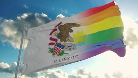 Flag of Illinois and LGBT. Illinois and LGBT Mixed Flag waving in wind. 3d rendering
