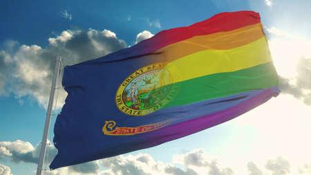 Flag of Idaho and LGBT. Idaho and LGBT Mixed Flag waving in wind. 3d rendering Banco de Imagens