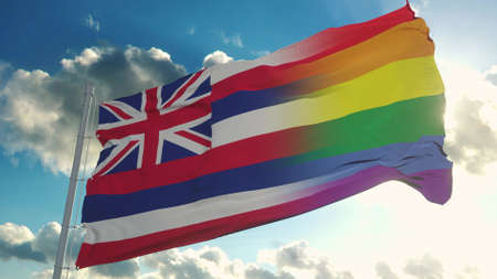 Flag of Hawaii and LGBT. Hawaii and LGBT Mixed Flag waving in wind. 3d rendering