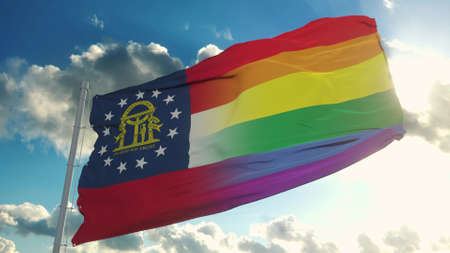Flag of Georgia and LGBT. Georgia and LGBT Mixed Flag waving in wind. 3d rendering