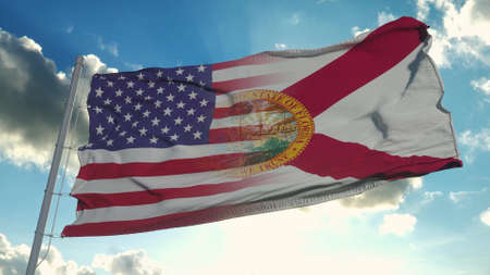 Flag of USA and Florida state. USA and Florida Mixed Flag waving in wind. 3d rendering