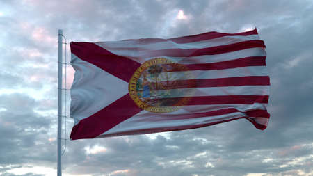 USA and Florida Mixed Flag waving in wind. Florida and USA flag on flagpole. 3d rendering Banco de Imagens