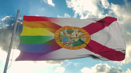 Flag of Florida and LGBT. Florida and LGBT Mixed Flag waving in wind. 3d rendering