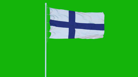 Finland flag waving on wind on green screen or chroma key background. 3d rendering