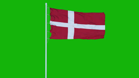 Denmark flag waving on wind on green screen or chroma key background. 3d rendering