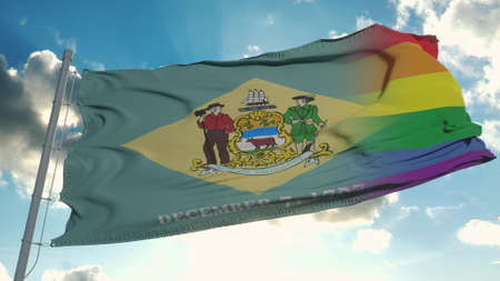 Flag of Delaware and LGBT. Delaware and LGBT Mixed Flag waving in wind. 3d rendering Banco de Imagens