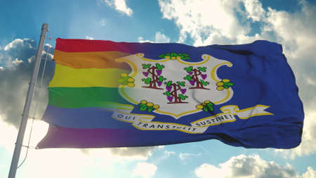 Flag of Connecticut and LGBT. Connecticut and LGBT Mixed Flag waving in wind. 3d rendering