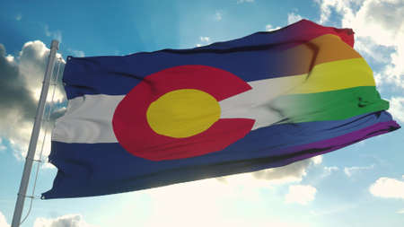 Flag of Colorado and LGBT. Colorado and LGBT Mixed Flag waving in wind. 3d rendering