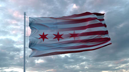 USA and Chicago Mixed Flag waving in wind. Chicago and USA flag on flagpole. 3d rendering Banco de Imagens