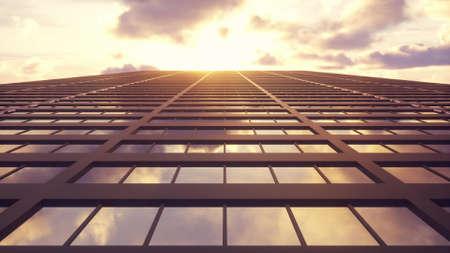 Beautiful abstract skyscraper facade. 3d rendering