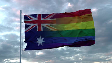 Waving national flag of Australia and LGBT rainbow flag background. 3d rendering