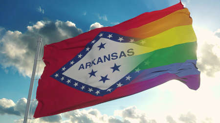 Flag of Arkansas and LGBT. Arkansas and LGBT Mixed Flag waving in wind. 3d rendering