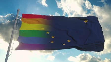 Flag of Alaska and LGBT. Alaska and LGBT Mixed Flag waving in wind. 3d rendering Banco de Imagens