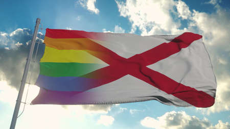 Flag of Alabama and LGBT. Alabama and LGBT Mixed Flag waving in wind. 3d rendering Banco de Imagens