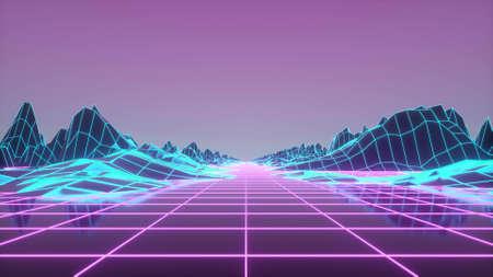 Retrowave horizon landscape with neon lights and low poly terrain. 3d rendering Banco de Imagens