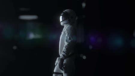 Astronaut walking in futuristic spaceship, sci-fi shuttle corridor. Technology and future concept. 3d rendering Banco de Imagens