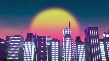 Retrowave style background of neon city. 3d rendering Banco de Imagens
