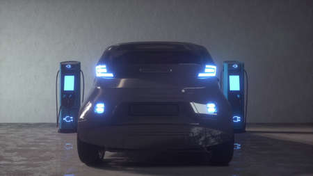 Charge station for electric cars. 3d rendering Banco de Imagens