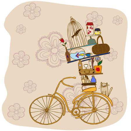 objetos de la casa: la bicicleta en el fondo de flores. Objetos de la casa de la bici Vectores