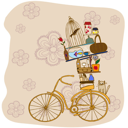 the bike on the background of flowers. Bike household objects Vector