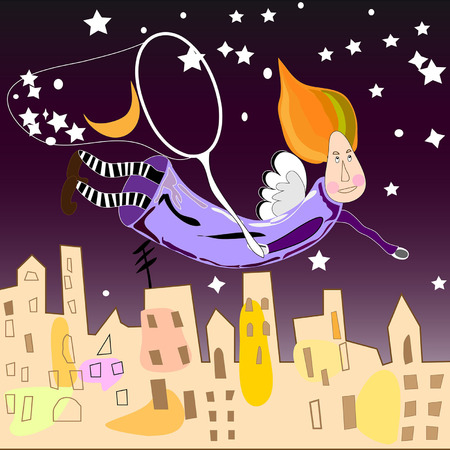 night fairy in the city collects the stars in the net Vector