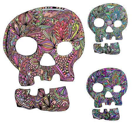 Skull vintage. Different color options color Vector
