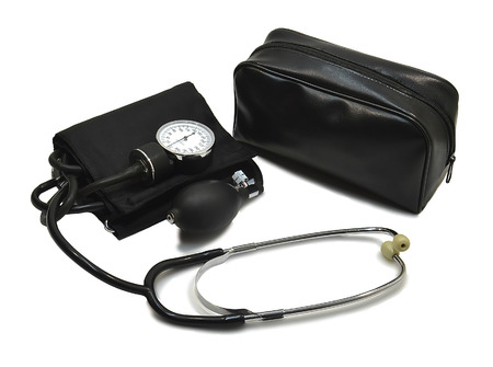 The instrument for measuring pressure. The unit with storage bag, photo on a white background photo